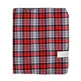 Clara Classic Plaid Pattern Fabric Book Cover Assorted Printed Stretchable Slipcase 8.7×5.9''(Red)