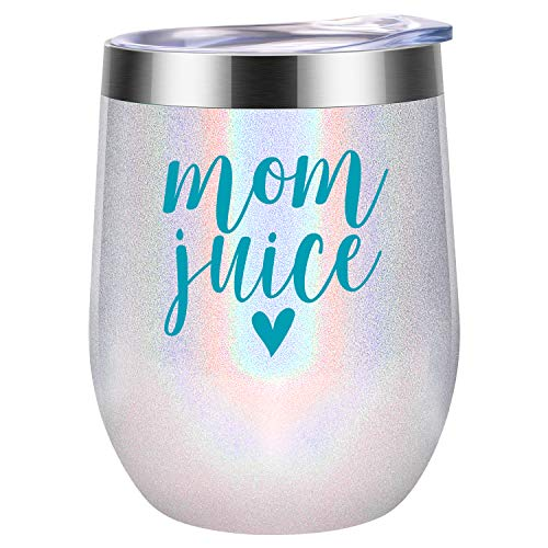 Mom Juice - Funny Mom Gifts for Mother's Day from Daughters, Sons or Husband - Best Mom Presents for Mom Birthday, Wife, Women, Her - Coolife 12 oz Stainless Steel Stemless Insulated Wine Tumbler Cup (Mommy To Be Wine Glass)