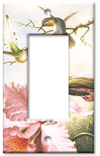 Art Plates - Heade: Orchids & Hummingbirds Switch Plate - Single Rocker