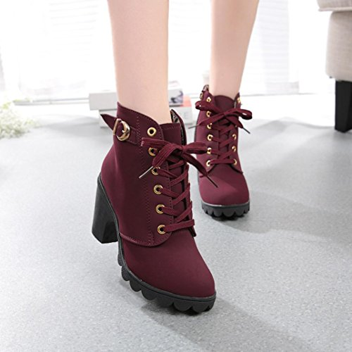 Mujer Talones Zapatos de Culater Botas Altos Rojo Tacón TtqFYwZ