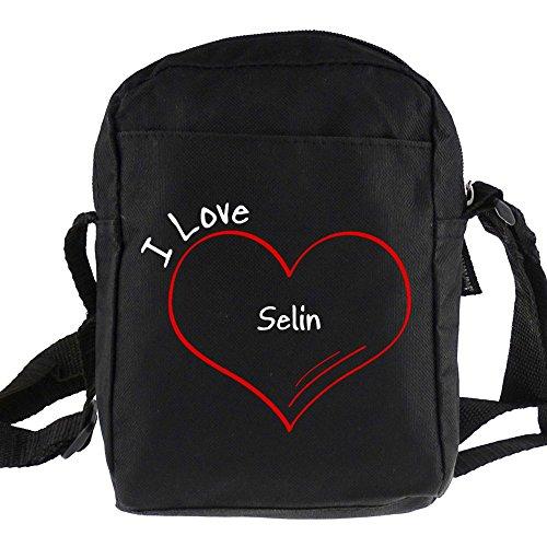 Umhängetasche Modern I Love Selin schwarz