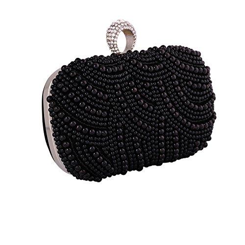 De Talon De De Polyester Perles Soirée Embrayage Main Darkblack Femme Mode De Sac De Tenant Paquet Sac La De xICngwHpXq