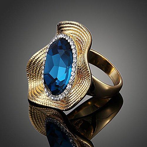 Claire Jin Forme Irreguliere Bague Cristal Ovale Bleu Bijoux Femme Mode