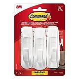 Command Large Plastic Hooks, White, 3 Hooks