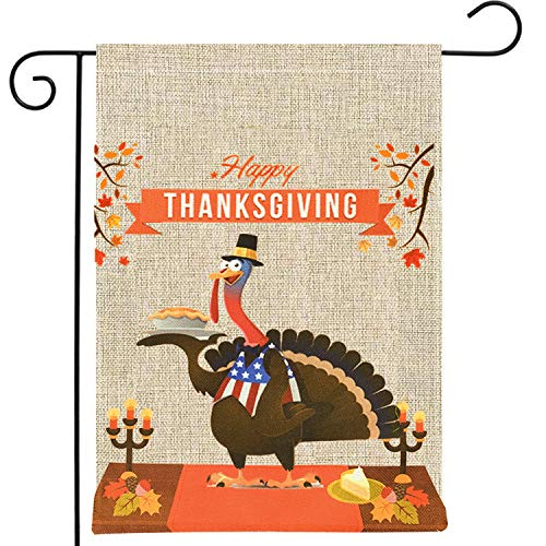 """Thanksgiving Garden Flag Decorations,Outdoor Design Burlap Turkey&Fall Leaves Double-Sided Yard Flag for Happy Give Thanks Party Favor, Autumn Harvest Garden Flags Holiday Seasonal Décor-12.5"""" x 18"""" from Yardom"""