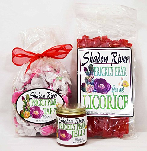 Shadow River Gourmet Prickly Pear Cactus Candy Sampler (Licorice, Taffy, Jelly) Sampler Jelly