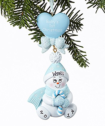 Personalized Candy Cane Ornament (Personalized Candy Cane Baby Blue Christmas Holiday Gift Expertly Handwritten Ornament)