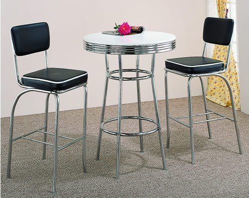 (3 pc retro chrome plated bar table set with 2 stools MNP: 2300-SET)