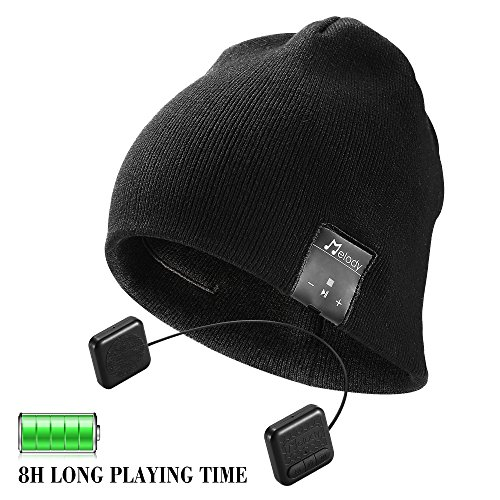 Bluetooth Beanie Hat,Topple Wireless 4.0 Superior Headphone Beanie Hat with HD Stereo Earphone Speaker &Mic,Unisex Washable For Men Women Winter Outdoor Fitness Best Christmas Gift-Black