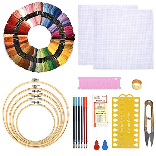 LANBEIDE Embroidery Kits, 5 Pieces Embroidery Hoops, 100 Color Threads, 2 Pieces Aida Cloth and Cross Stitch Tool Kit for Beginners (Adults and Kids)