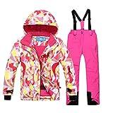mansmoer Children's Ski Suit Girls Warm Winter Sport Snowboard Jacket Snow Pants (146/152, (Pink + Pink)/8019)