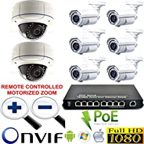 USG Sony DSP 8x Camera IP PoE CCTV Kit: 6x 2MP 1080P 2.8-12mm IP Bullet Cameras + 2x 2MP 1080P Motorized Lens 2.8-12mm IP Dome Cameras + 1x 9 Port PoE Network Switch * Apple Android Remote Viewing