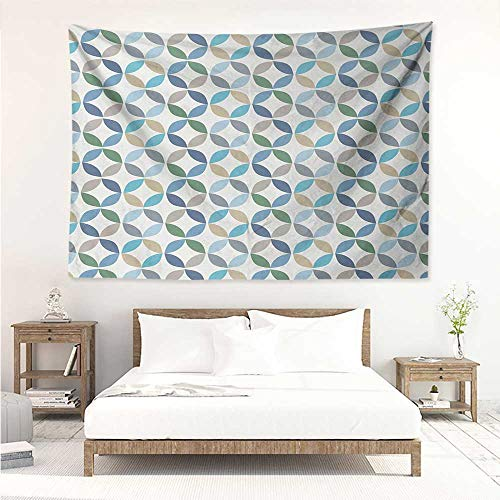 alisos Geometric Circle,Tapestry Wall Hanging Pastel Color Effects Oval Point Old Linked Stripes Contrast New Band 84W x 70L Inch Apartment Decor Collection Pale Blue Green - Oval Mirror Collection Beach