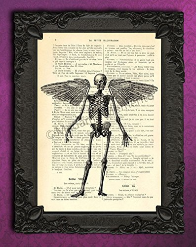 Halloween human skeleton with wings art print on dictionary page, gothic fantasy anatomy poster -