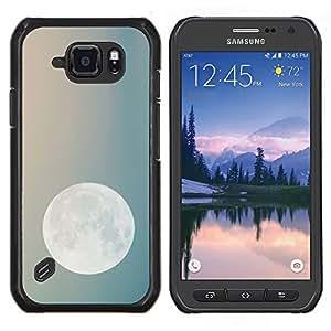 Noche de Luna Cielo azul del trullo Planetas Tierra- Metal de aluminio y de plástico duro Caja del teléfono - Negro - Samsung Galaxy S6 active / SM-G890 (NOT S6)