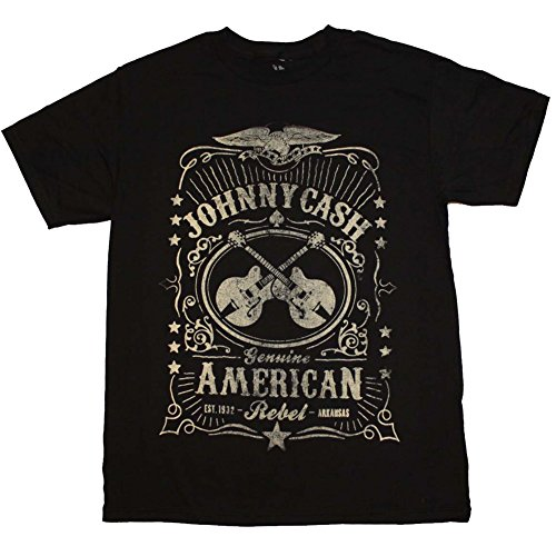 Mens-Johnny-Cash-Black-Label-T-Shirt-Black