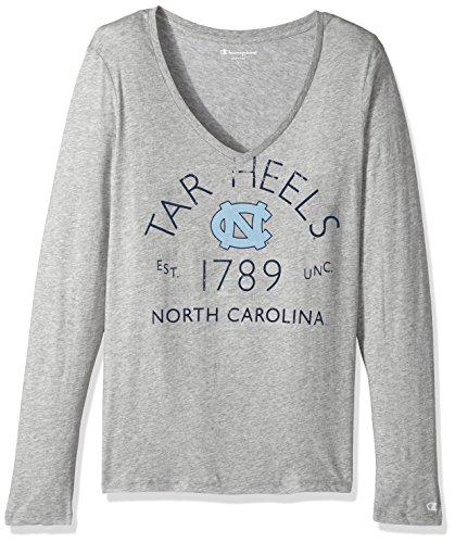 NCAA North Carolina Tar Heels Women's University Long sleeve V-Neck Gray Tee, Small, Oxford Heather (V-neck Heels)