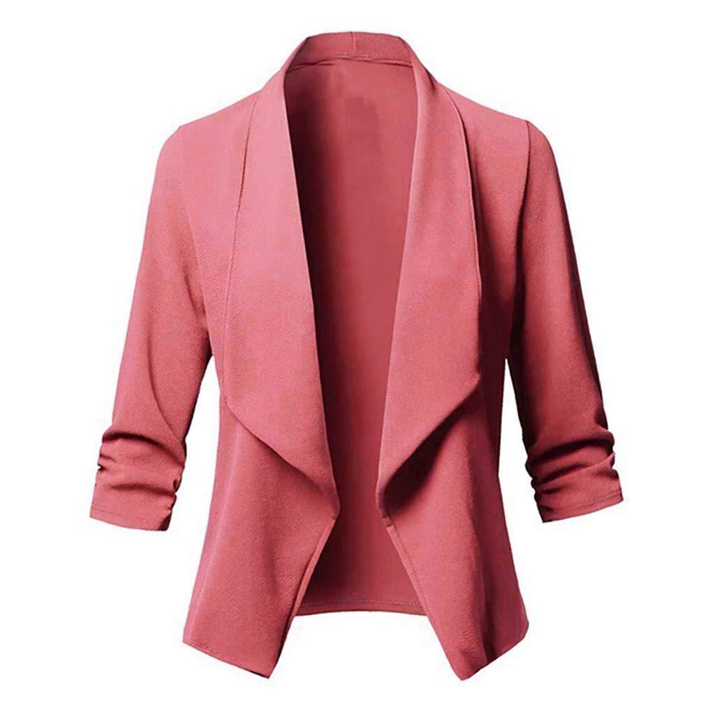 Dermanony Women's Lightweight Stretch 3/4 Sleeve Blazer Jacket Open Front Cardigan Casual Work Stretchy Jacket Coat Pink by Dermanony _Coat