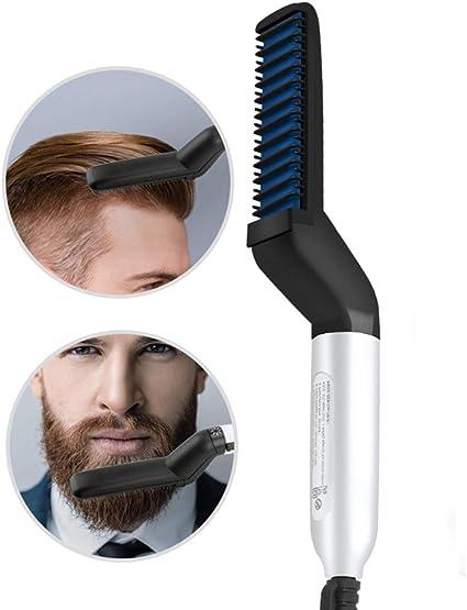 Peine de Pelo Multifuncional Cepillo Alisador de Barba Peine de Pelo Rizador de Pelo Styler de Pelo Rápido para Hombres: Amazon.es: Belleza