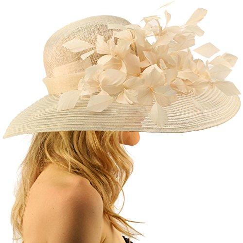 "SK Hat shop Spectacular Spray Feathers Sinamay Derby Floppy Wide Brim 7"" Dress Hat"