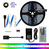 led strip rv - Weatherproof RGB 150 LED Light Strip Kit - 16.4 Foot Multicolor SMD 5050 Strips with Adhesive, 44 Key Remote & Power Supply - Cuttable, Connectable, & Customizable - For TV, PC, Kitchens, Decks & More