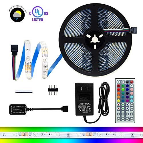 Weatherproof RGB 150 LED Light Strip Kit - 16.4 Foot Multicolor SMD 5050 Strips with Adhesive, 44 Key Remote & Power Supply - Cuttable, Connectable, & Customizable - For TV, PC, Kitchens, Decks & More