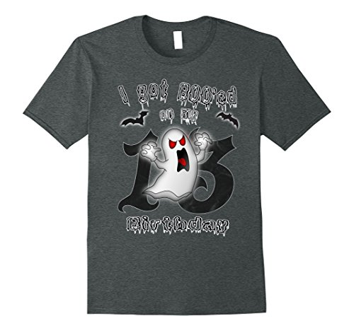 Mens Funny 13th Birthday Halloween Gifts Scary Ghost T-Shirt Medium Dark Heather (Halloween Birthday Gifts For Her)