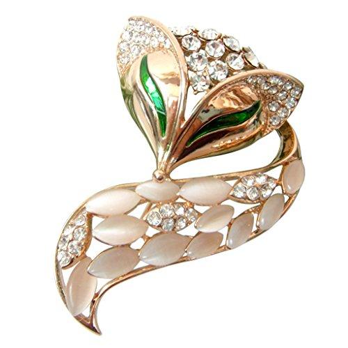Navachi 18k Gold Plated White Created-Opal Crystal Fox Lowrie Head Tail Az7874b Brooches pins