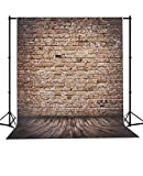 MEHOFOTO Red Brick Backdrop Seamless Wood Floor Polyester Background for Kids 5X7ft