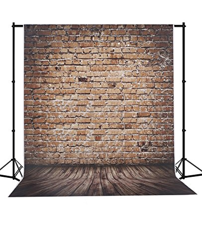 MEHOFOTO Red Brick Backdrop Seamless Wood Floor Polyester Background for Kids 5X7ft by MEHOFOTO