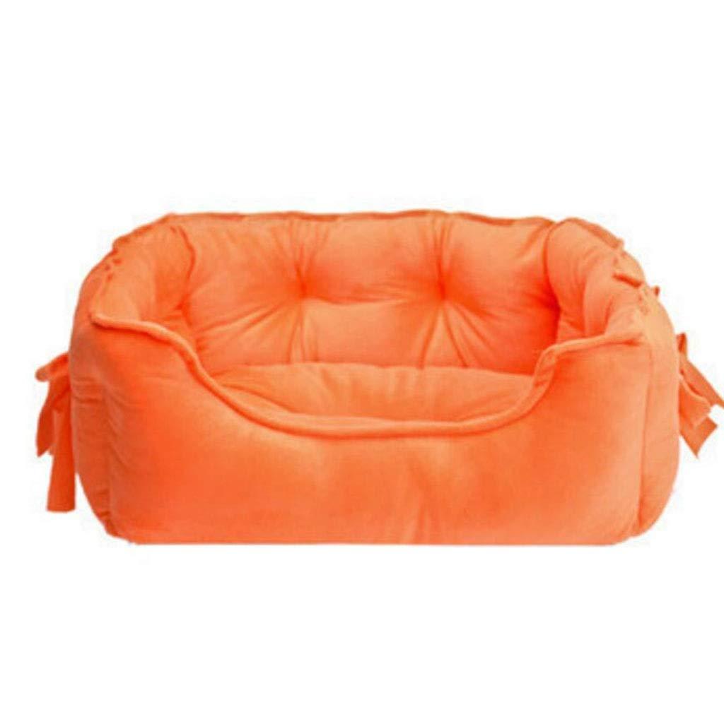 orange LGKKXUE Cat nest, Shu cotton pet bed, Indoor dog sleeping bed, Kitten puppy pad (color   orange, Size   L)