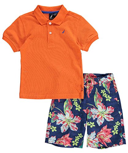 Nautica Little Boys' 2 Piece Short Sleeve Solid Polo with Stripe Short Set,Eco Orange,3T