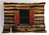 Lunarable House Pillow Sham, Wooden Old Lumberjack House with Single Window and Wires in Dark Photograph Print, Decorative Standard King Size Printed Pillowcase, 36 X 20 inches, Red and Brown