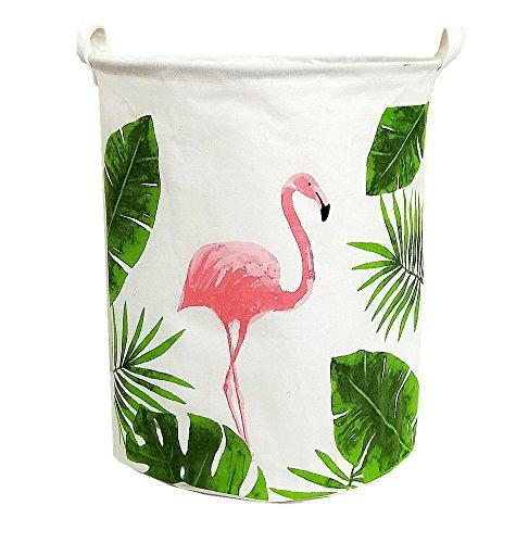 19.7Large Sized Waterproof Foldable Laundry Hamper Bucket,Dirty Clothes Laundry Basket, Bin Storage Organizer for Toy Collection,Canvas Storage Basket with Stylish Cartoon Design(Flamingo)