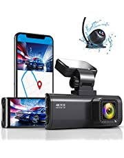 """REDTIGER Dash Cam 4K Built in WiFi GPS Front 4K Rear 1080P Dual Dash Camera for Cars 3.16"""" IPS Screen 170° Wide Angle Camera with Sony Sensor,WDR Night Vision,G-Sensor,Loop Recording,Support 256GB Max"""
