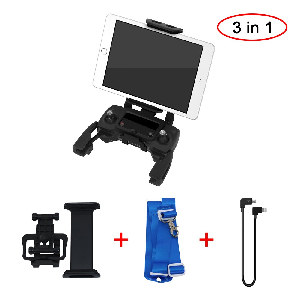 Helistar Compatible Tablet Holder Neck Lanyard Foldable Extendable Mount Holder to suit 4-12 inch Phone or Tablet for DJI Mavic Air Mavic Pro Spark Mavic Pro Platinum Alpine White
