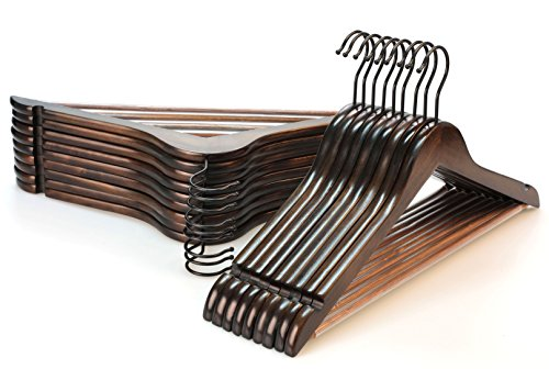 TOPIA HANGER Heavy Duty Wood Coat Hangers in Smooth Retro Finish, Boutique Quality Wooden Suit Hangers-Thicker Non-Slip Rubber Pants Bar and Extra Smoothly Cut Notches-360° Black Hook-18 Pack CT04A