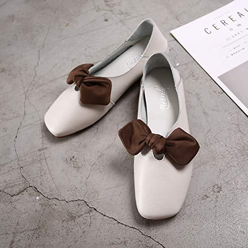 Donna Dimensione Ballerine Da Pelle Shoes Knot Eu 37 Soft Comfort On Marrone Fuxitoggo Bianca Slip colore In 1AwpUxqwI