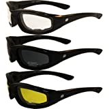 3 PAIR BIRDZ PADDED MOTORCYCLE RIDING GLASSES SMOKED CLEAR YELLOW Shatterproof Polycarbonate Lens Maximum UV Protection…