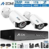 A-ZONE 4CH 2.0MP DVR AHD Surveillance Camera System W/ 2x HD 1080P waterproof Night vision Indoor/Outdoor Home Security Cameras, Including 1TB HDD