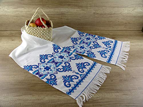 (Ukrainian rushnyk traditional hand embroidered Wedding towel blue exclusive home decor Handmade ethnic table runner Boho wedding towel country rustic Bohemian)