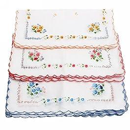 12Pcs Ladies Soft Cotton Square Floral Handkerchiefs
