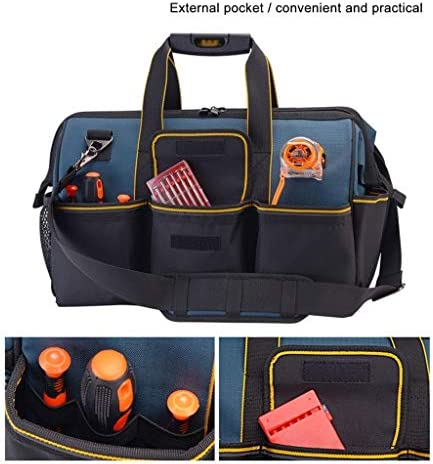 YCSX Portable Tool Box Traditional Kit Large Household Tool Bag Wide Mouth Shoulder Tool Bag Waterproof Hard Base Tool Storage Bag Tool Storage and Organization (Size : L)