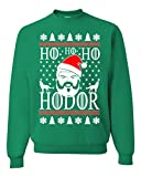 HO HO HO Hodor Game of Thrones Ugly Christmas Sweater Unisex Sweatshirt (3XL, Green)