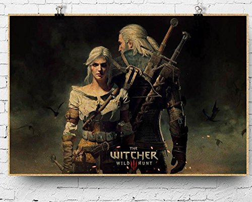 Fangeplus(TM) the Witcher-wild hunt Geralt Antique Vintage Old Style Decorative Educational Poster Print Wall Decor Decals 23.6''x15.7''