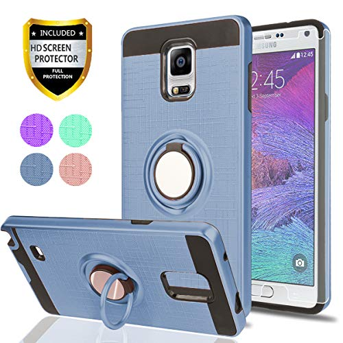 Note 4 case Galaxy Note 4 Case HD Screen Protector,Ymhxcy 360 Degree Rotating Ring & Bracket Rubber Dual Layer Shock Bumper Resistant Back Cover Samsung Galaxy Note 4-ZH-Metal Slate-2