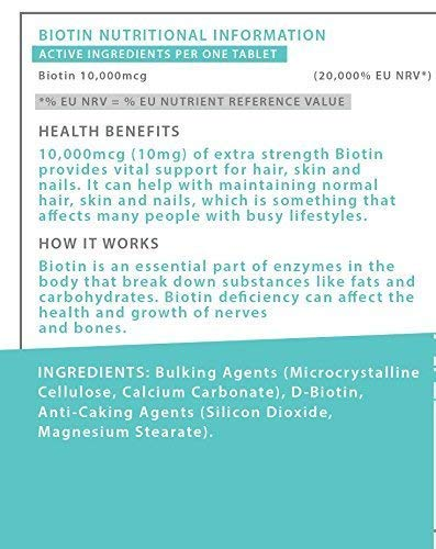 Biotina SlimBliss en tabletas de 10,000 mcg, para el ...