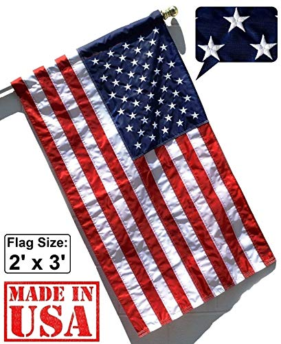 US Flag Factory 2'x3' U.S. American Flag (Pole Sleeve) (Embroidered Stars, Sewn Stripes) Outdoor SolarMax Nylon, UV Fading Resistant - Made in America