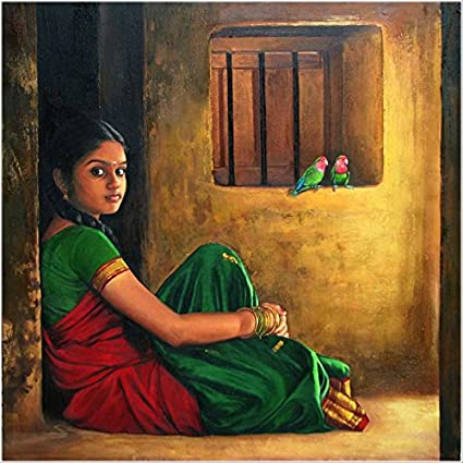 Amazon Com Real Hand Painted Indian Girls Women Canvas Oil