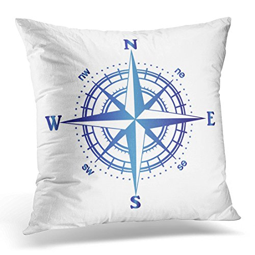 VANMI Throw Pillow Cover Black Cartography of Compass Rose Map Adventure Decorative Pillow Case Home Decor Square 20x20 Inches Pillowcase